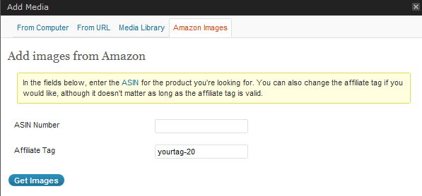 Media Manager tab with Amazon Images activated