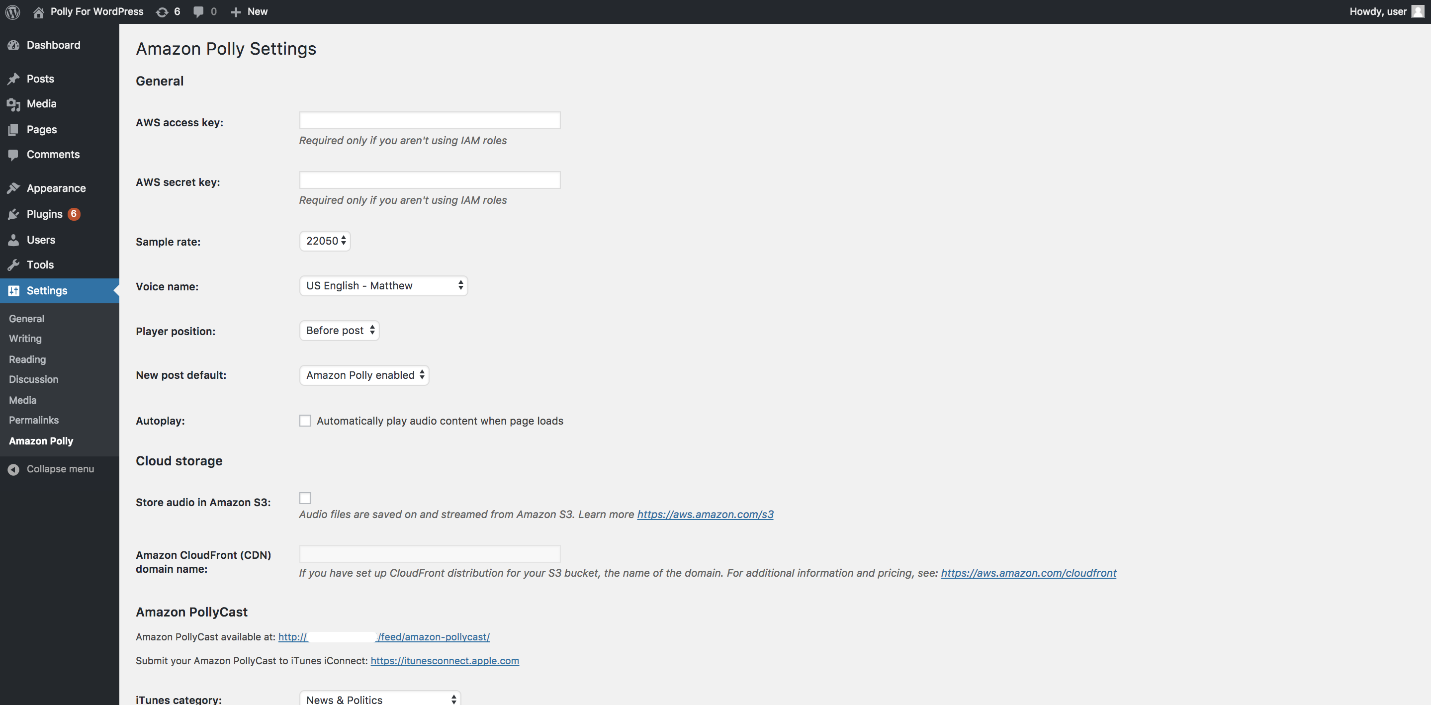 The view of the configuration settings page for the plugin.