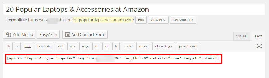 Code to create page above