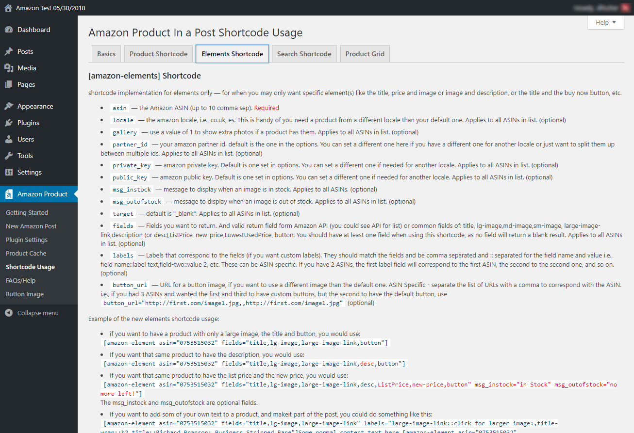 Shortcode Usage Page. Outlines how to use the shortcodes for different setups.