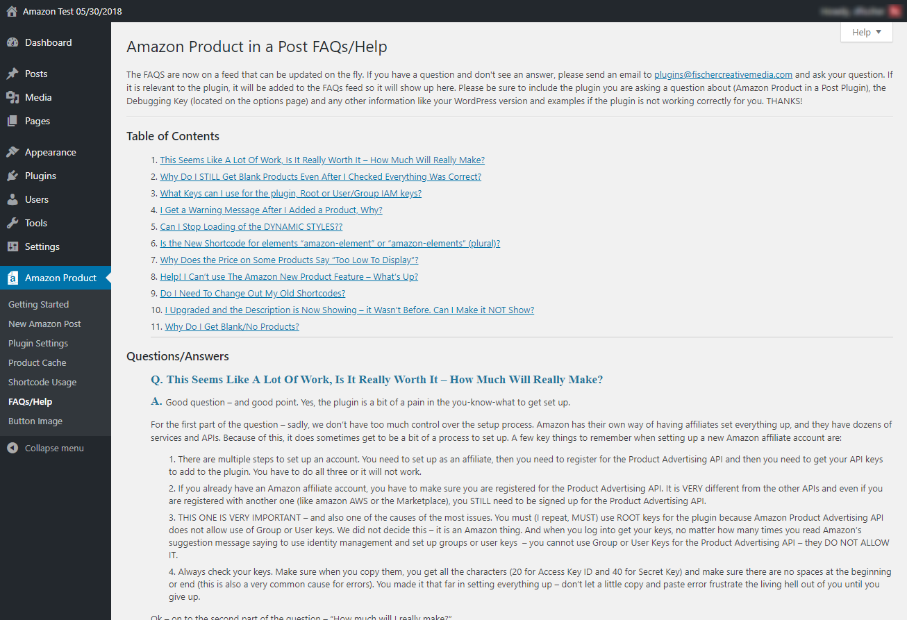 FAQs and Help Page. FAQs are on a feed to make it easy for us to add new FAQs if there are common problems.