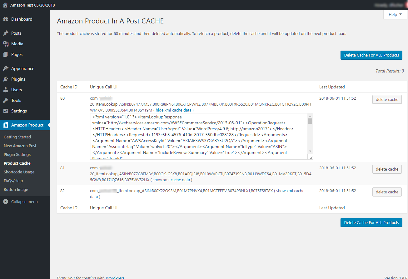 Amazon Cache Page. Allows you to see and delete cached product data.