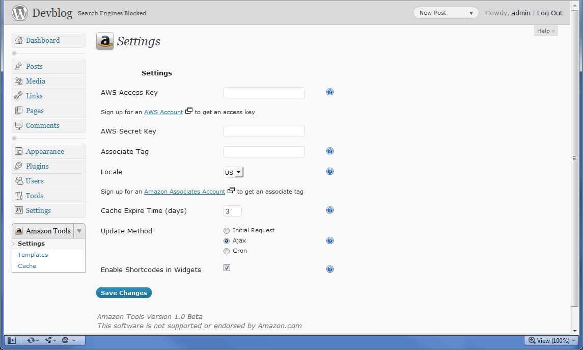 The plugin settings page. An AWS access key and secret key must be specified before the plugin will function.
