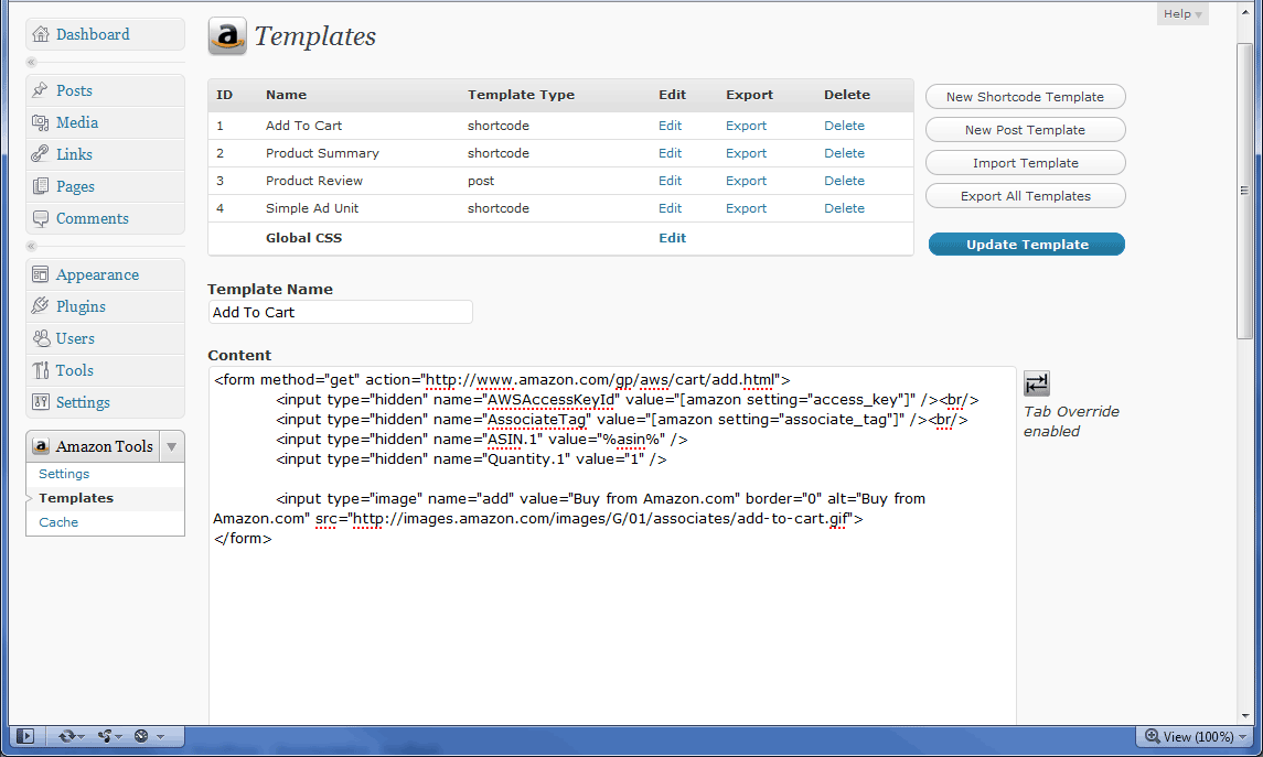 The plugin allows you to create 'templates' that can be used with the amazon shortcode or by specifying a post template.