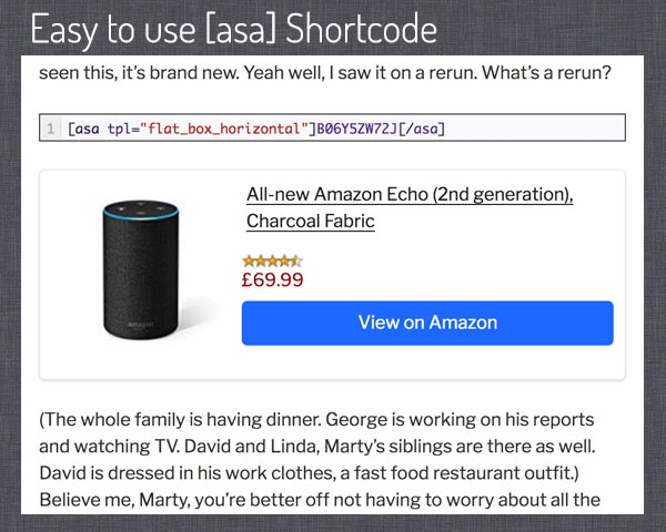 Easy to use [asa] shortcode, in this example with template flat_box_horizontal