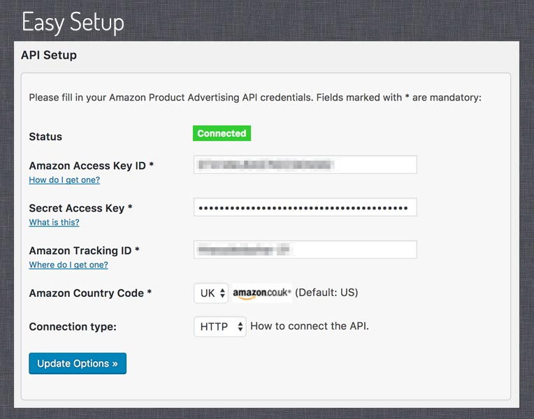 Setup screen. Here you can setup your connection with the Amazon Product Advertising API