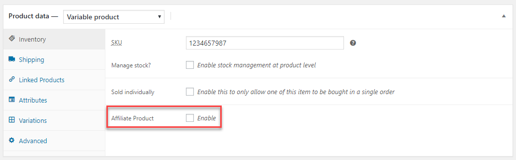 """The """"Affiliate Product"""" option."""