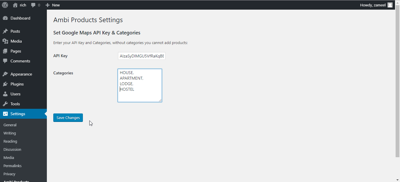 Add Categories and API Key<code>/assets/screenshot-4.png</code>