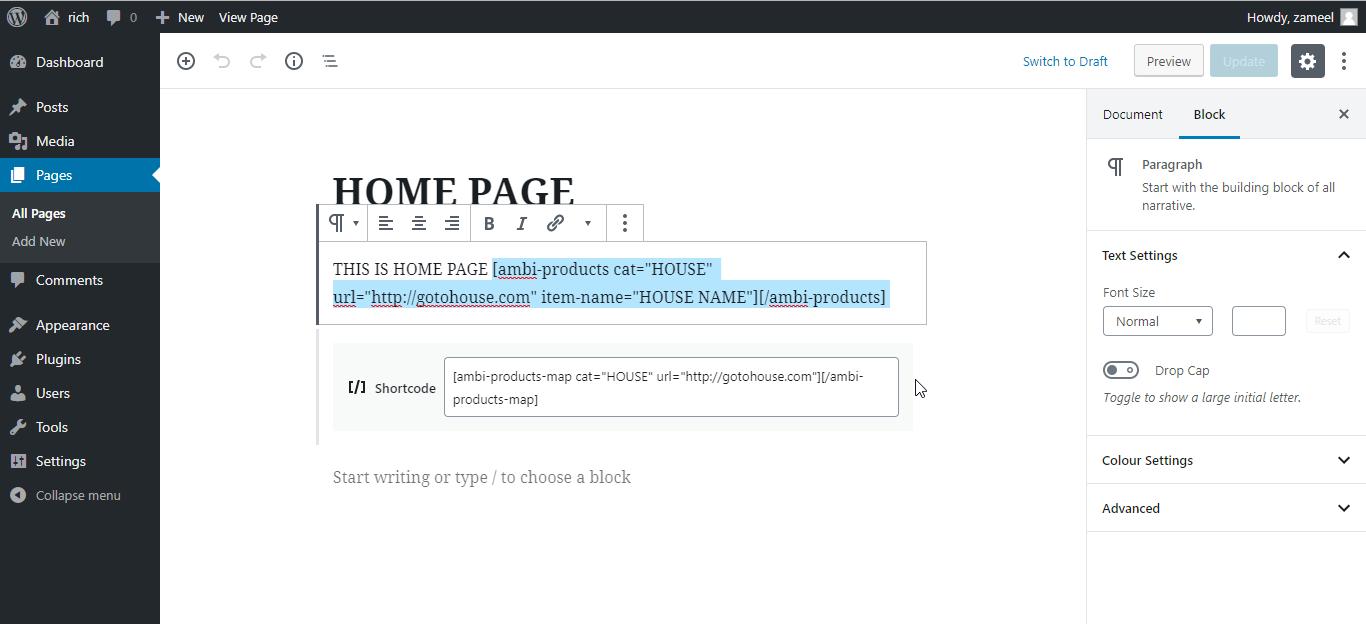 Shortcodes <code>/assets/screenshot-6.png</code>