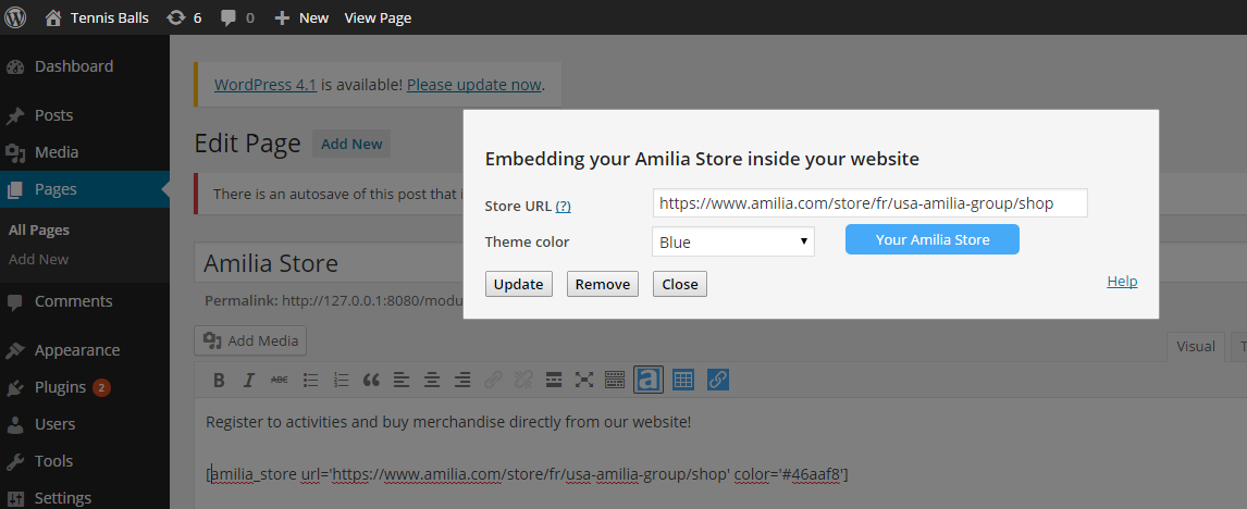 The Amilia Store tool appears in your editor. It allows you to insert shortcodes to inject your Amilia store, a button, a table of activities or a calendar of activities. Click again to update or remove a shortcode.