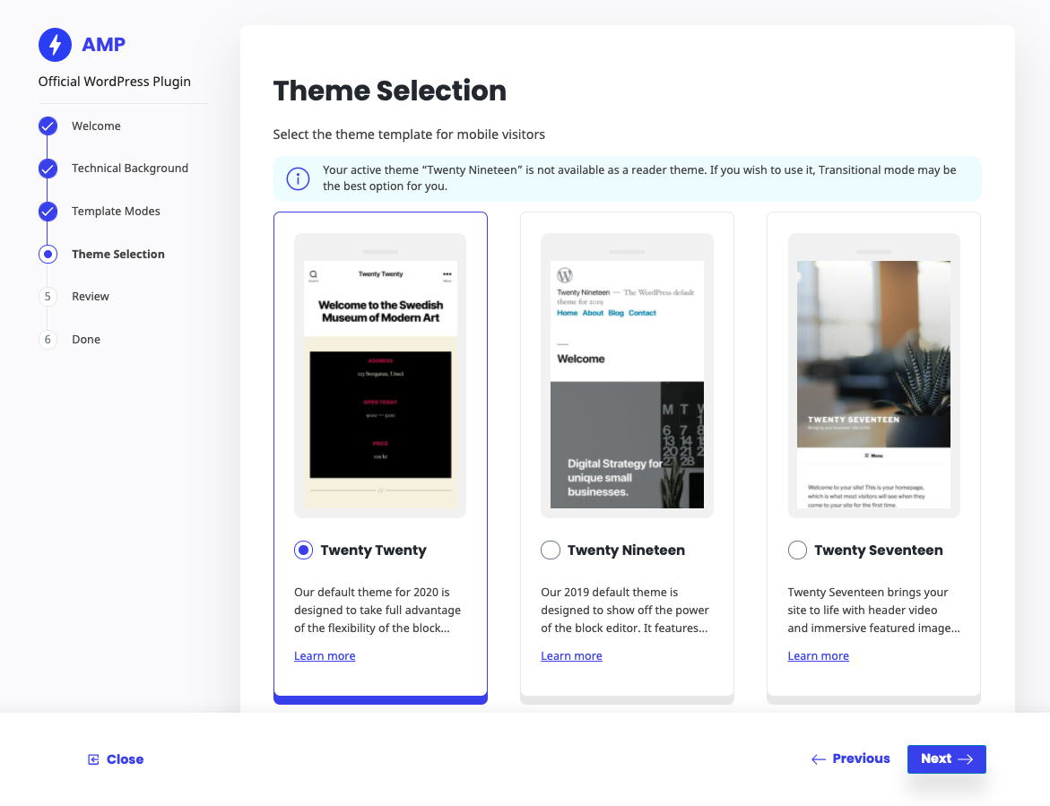 In the website experience, theme support enables you to reuse the active theme's templates and stylesheets; all WordPress features (menus, widgets, comments) are available in AMP.