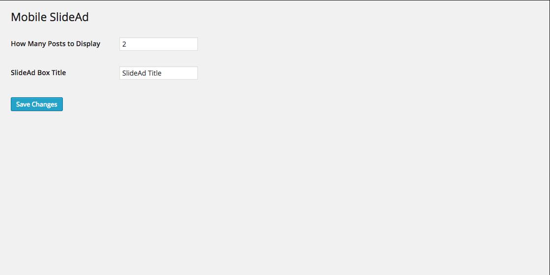 A screenshot of the admin settings