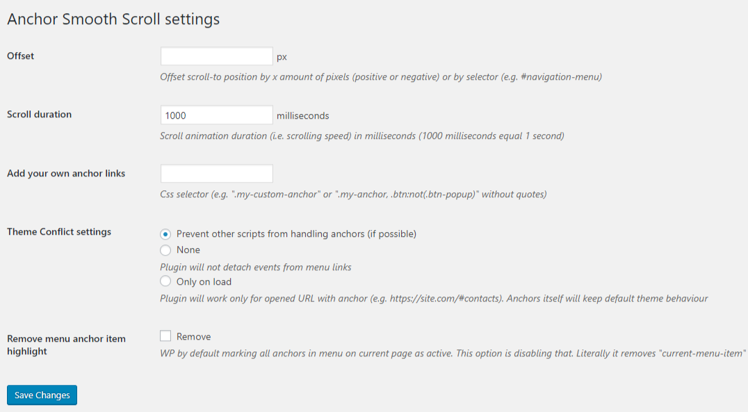 The Anchor smooth scroll settings page