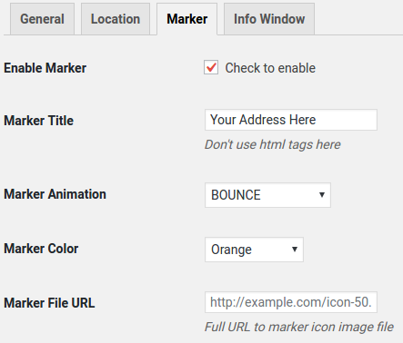 screenshots general options location options marker options