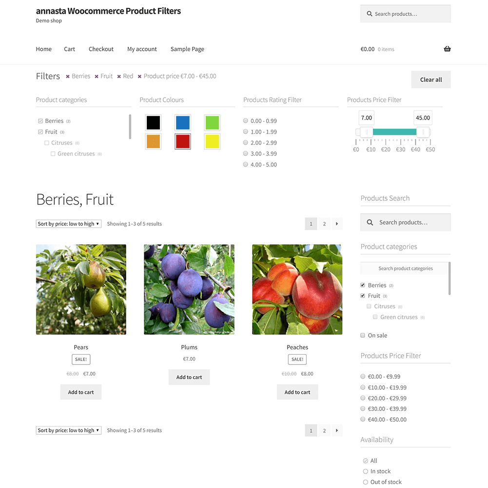 annasta Woocommerce Product Filters on a shop page