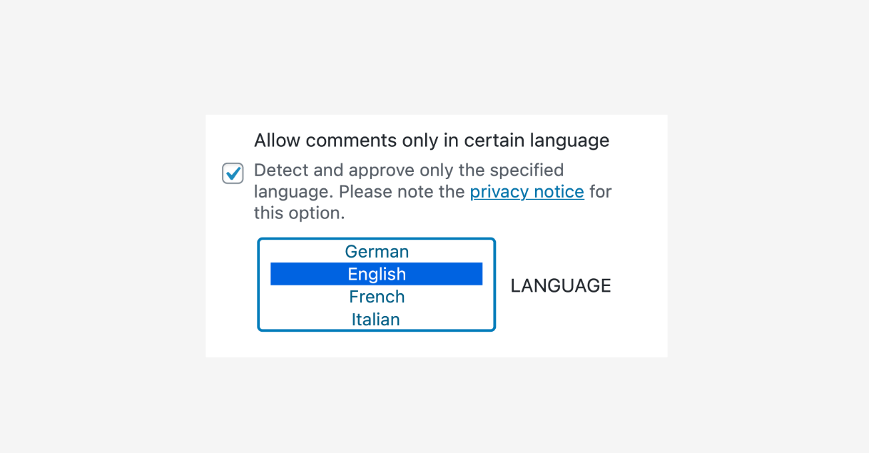 Allow comments only in certain languages.