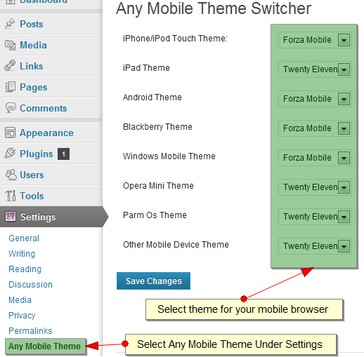 Admin Setting For Mobile Theme selection repective to their platform.