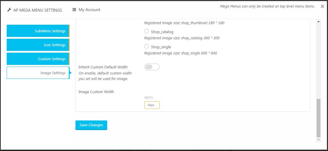 Sub Level Menu Settings - Custom Image Settings