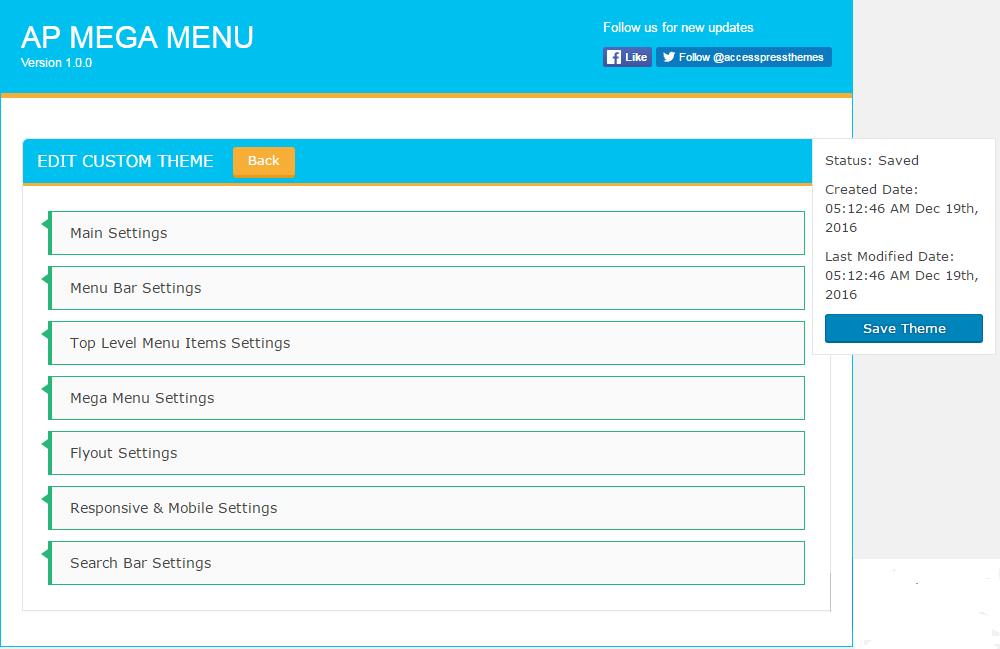 Custom Theme Settings - Custom Theme Add/Edit Customization Settings