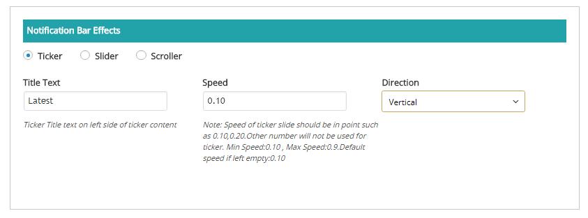 Screenshot 15 - Notification Bar Effects : Ticker Settings