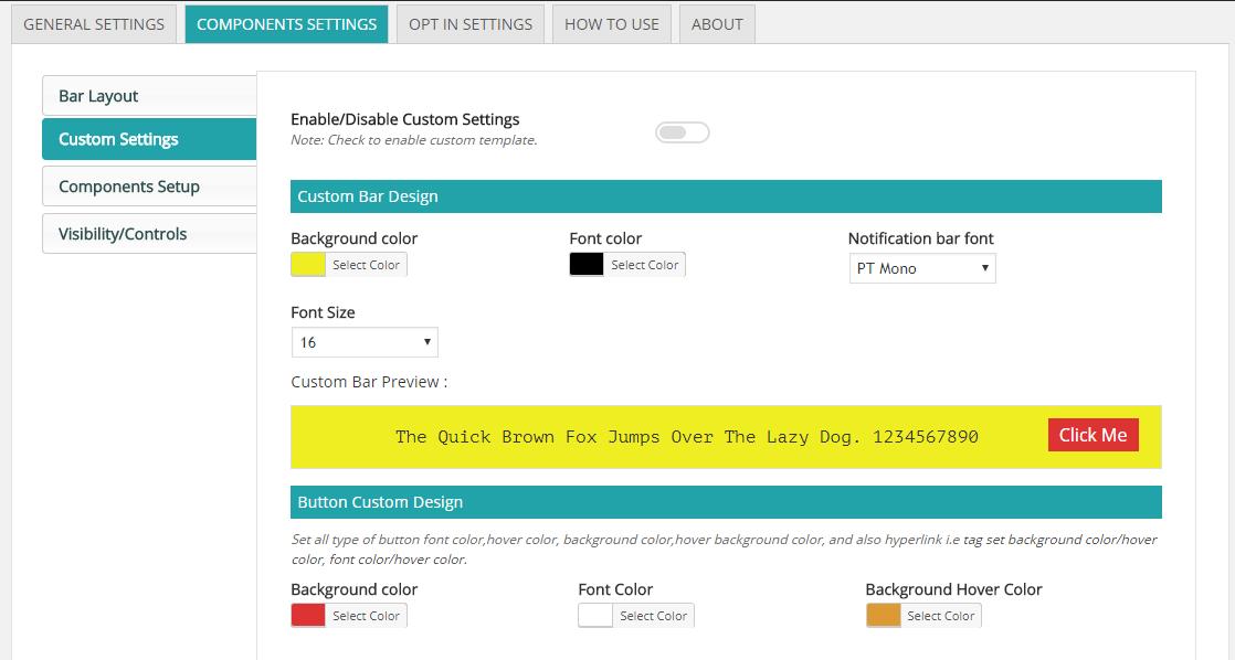 Screenshot 4 - Custom Design Settings