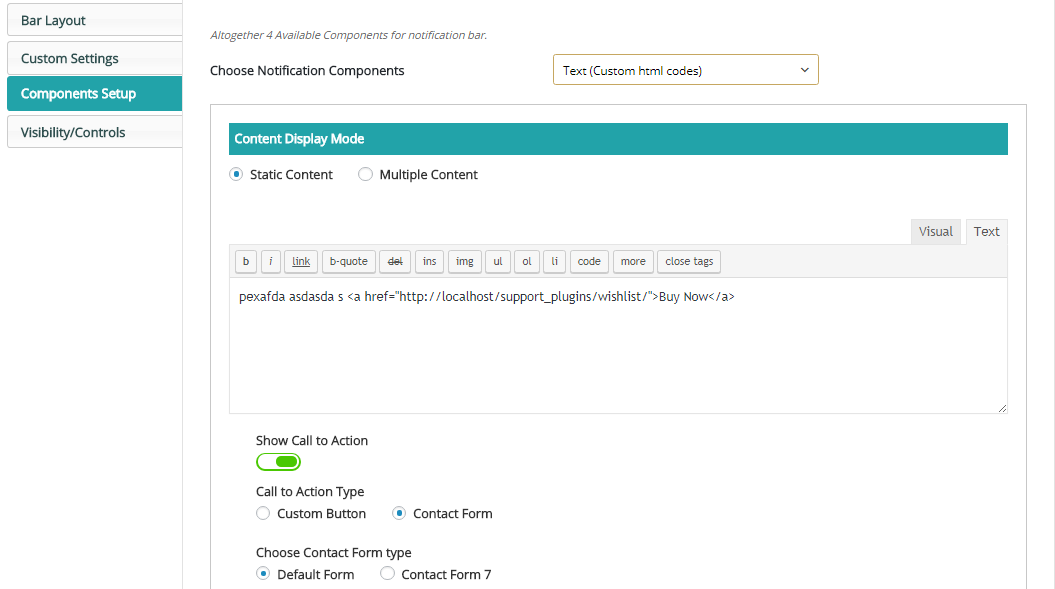 Screenshot 6 - Static Text With Call to action button Settings