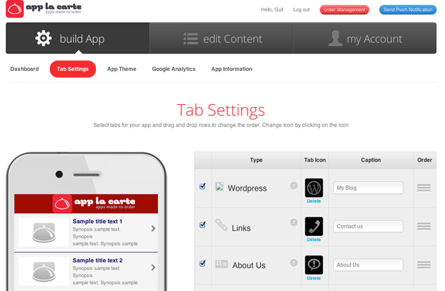 Setting up the app by selecting the WordPress feature and dragging it to a desired position.