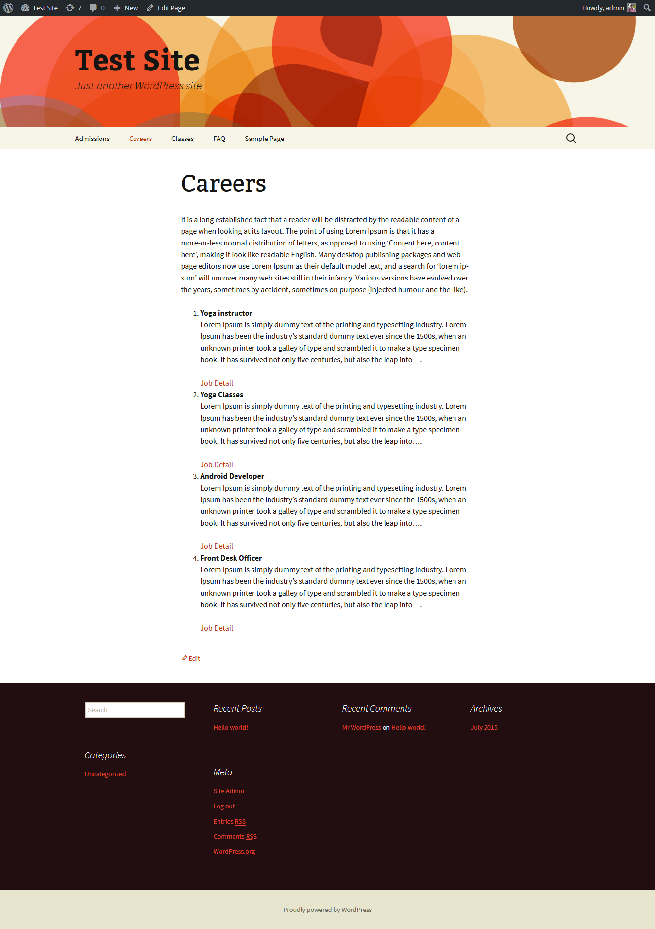 """Front-end view of Ads listing on """"Careers"""" page."""