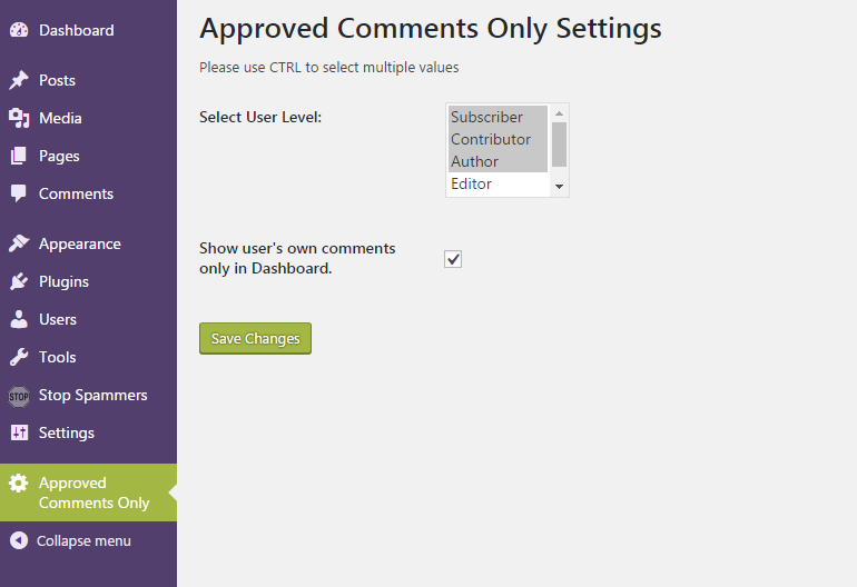 Approved Comments Only Settings page.