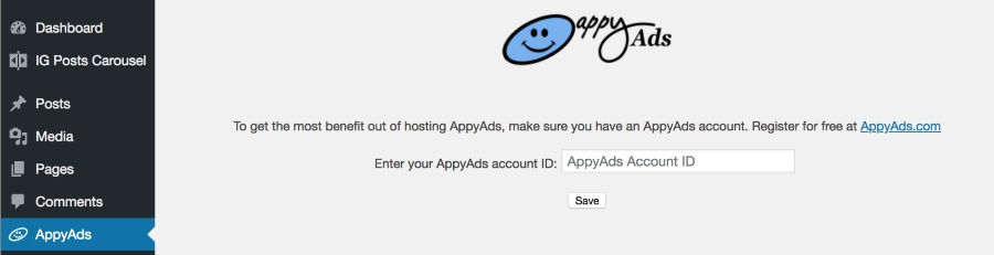 The AppyAds administration panel allows you to enter your AppyAds account ID, which you can obtain for free by registering at appyads.com.