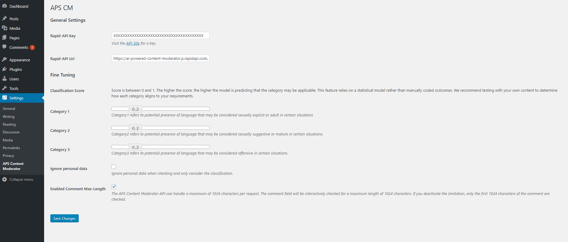 The Content Moderator Plugin Settings Section.