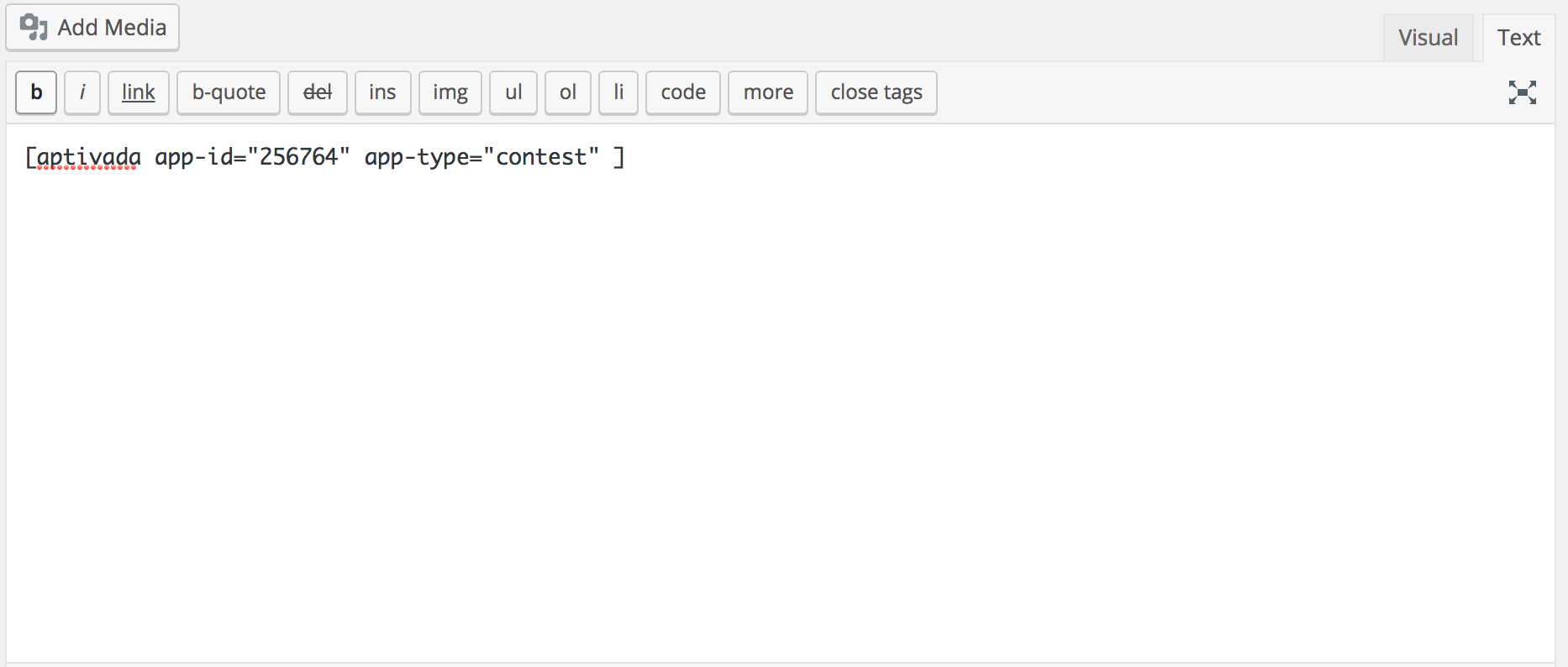 Put the shortcode from Aptivada directly into the body of your WordPress page.