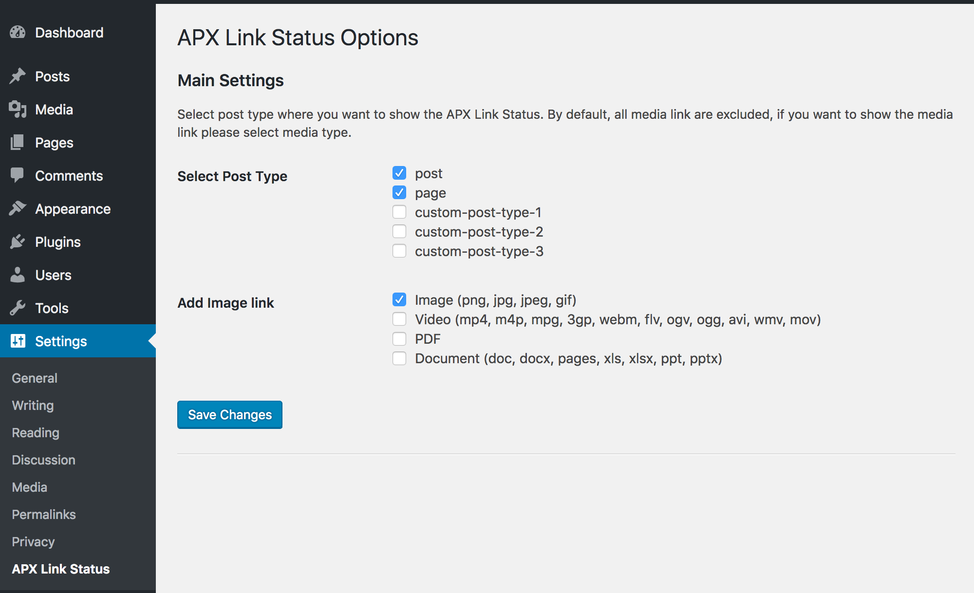APX Link Status option