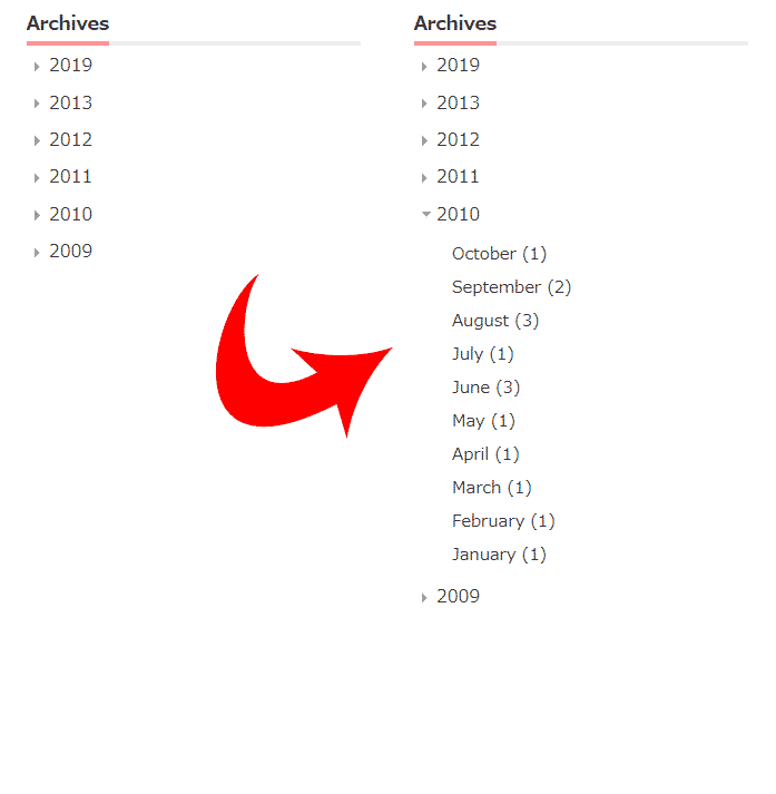 Archive widget collapsed with CSS