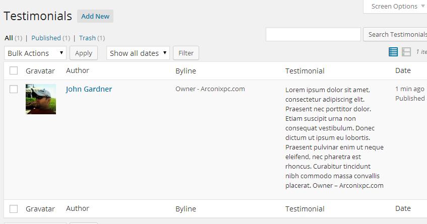 Testimonial list in the Admin