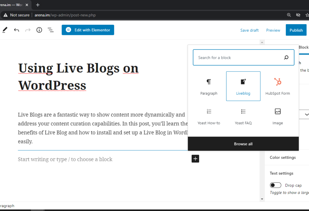 Arena.IM – Live Blogging for real-time events