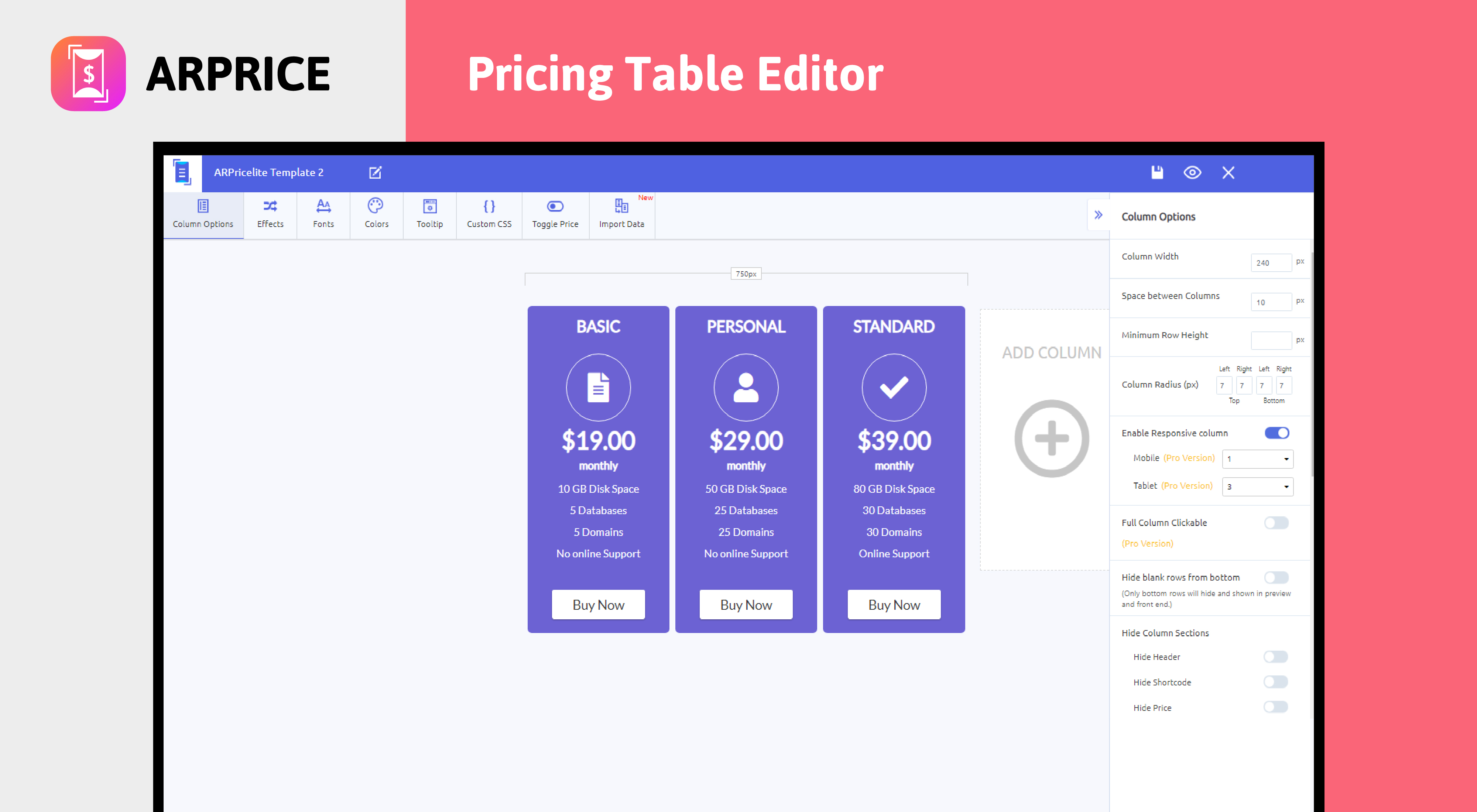 ARPrice - Pricing Table Editor