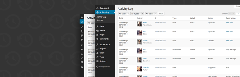 activity log wordpress org