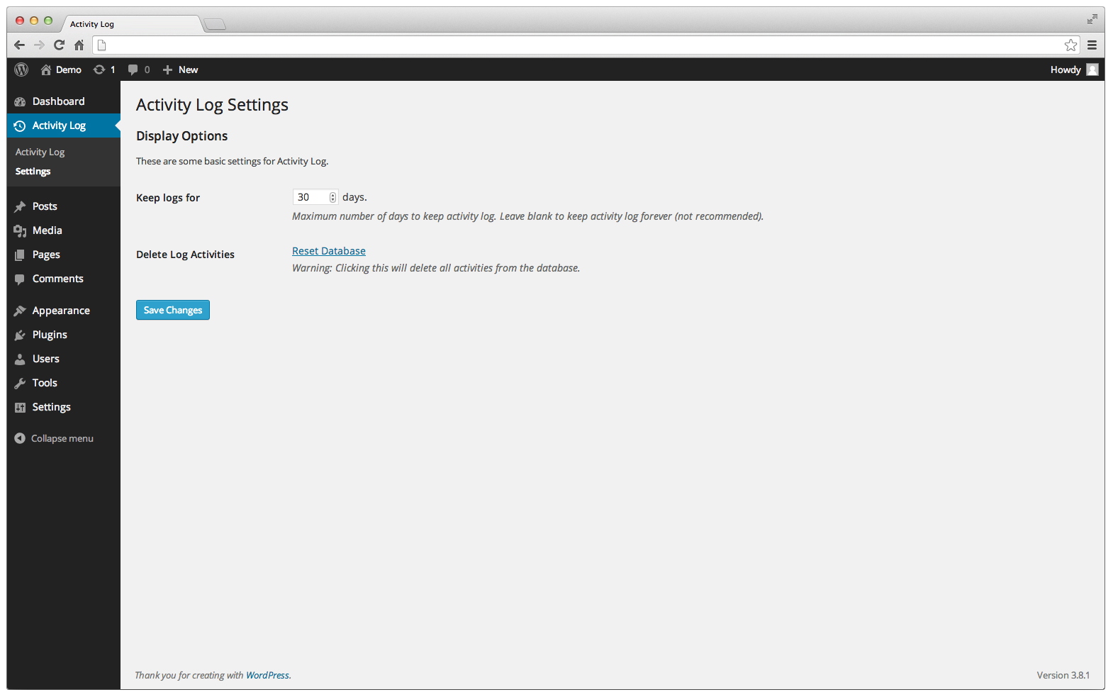 The settings page