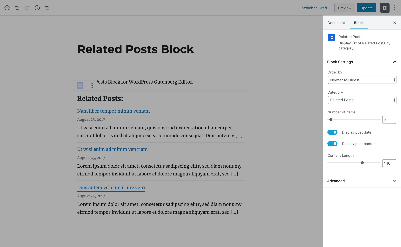 Block settings.