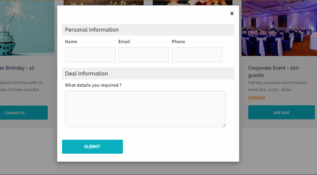 "Popup form for the action button ""Request Details"" etc."
