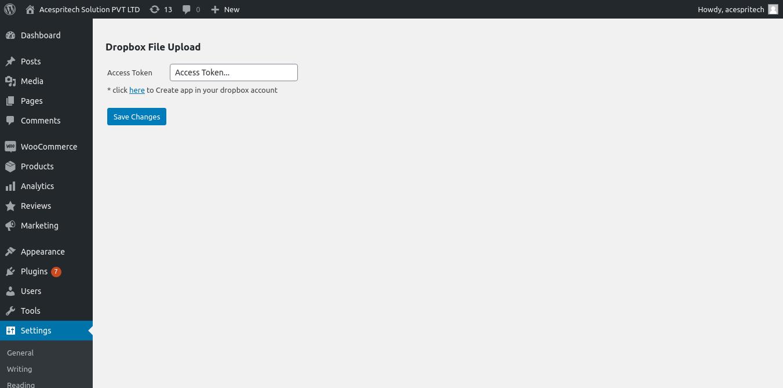Configuration of Dropbox (Access Token)