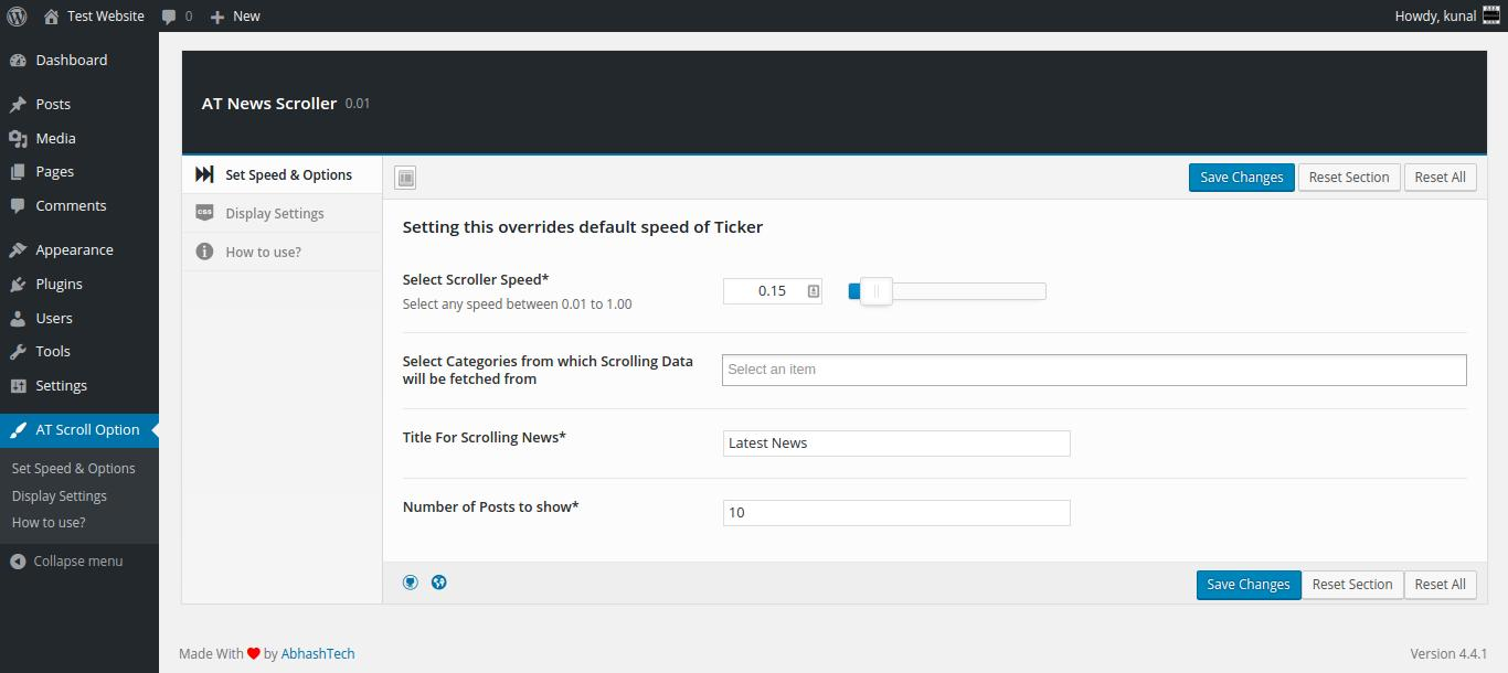 <strong>Plugin Options</strong> - Various option like setting speed, Text and choose number of post and Post category to show from