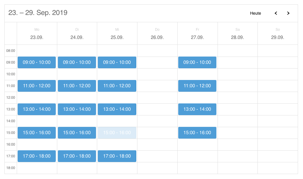 The calendar your users see on the front-end