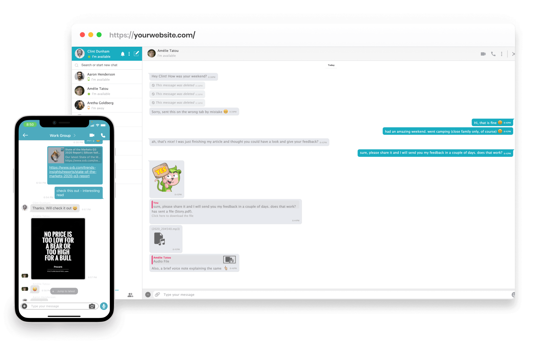 One-on-one and Group Chat with Stickers, Emojis, Bots and more!