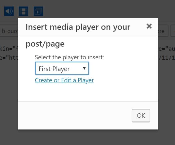 Inserting the Player using the classic WordPress editor