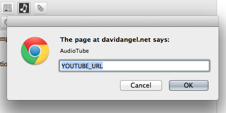 A quick visual editor button for adding the AudioTube shortcode. Optionally enter a caption.