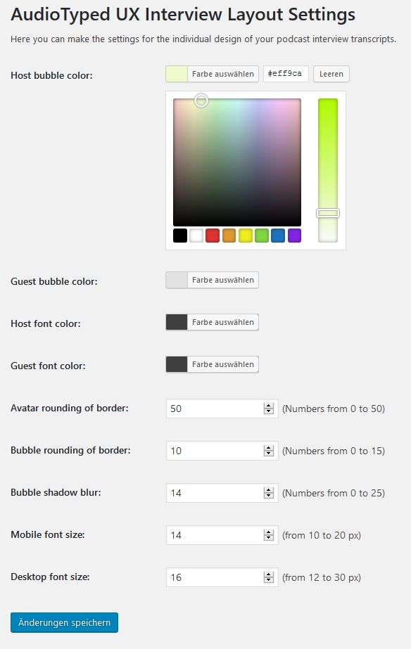 Set the bubble and font color for host and guest speaker. And settings for the avatars.