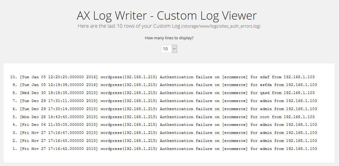 Custom log viewer.