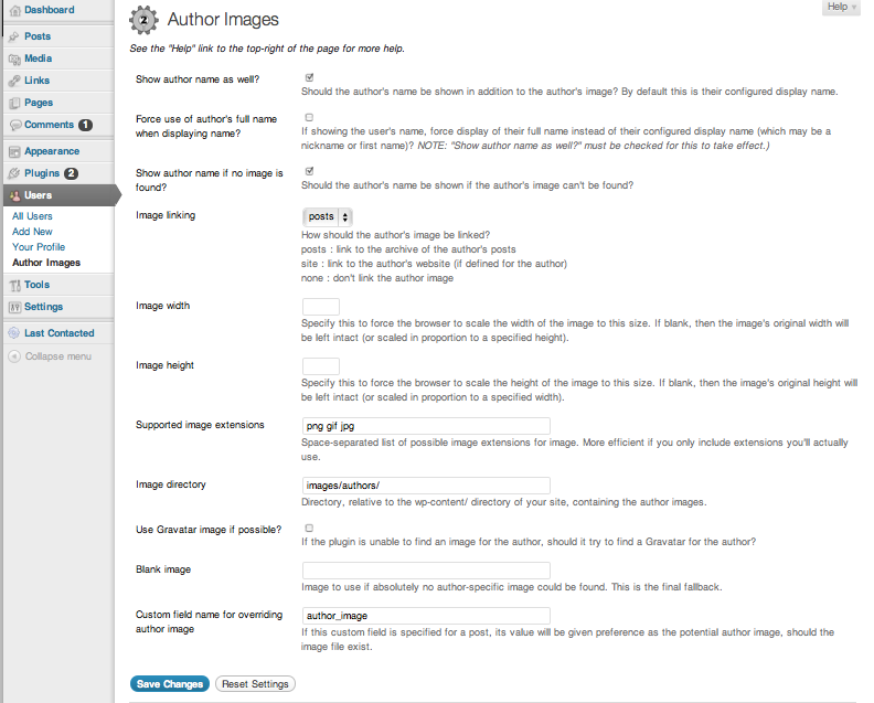 A screenshot of the plugin's admin options page.